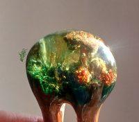 Jadedrache Haarschmuck gletscherforke grün gold