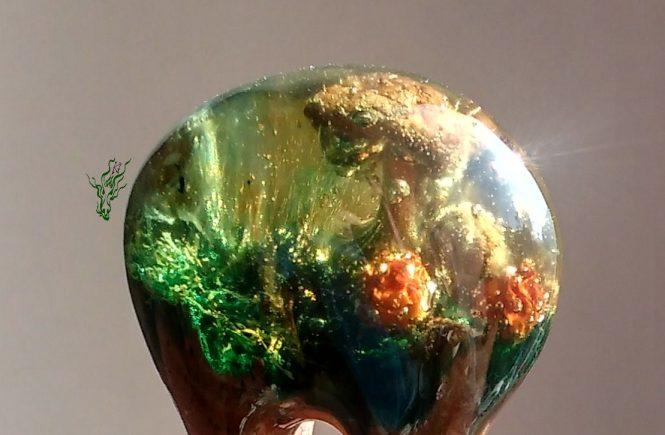 Jadedrache Haarschmuck gletscherforke grün gold herbstfarben